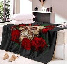 Сон одеяло супер мягкий уютный бархат плюшевый плед Цветочный Череп Современная линия Art одеяло на искусственном меху для дивана бросить путешествия CB68