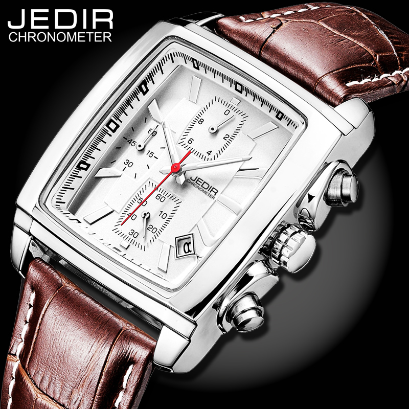 JEDIR Mens Business Casual Watches Men Military Sport Luminous Wristwatch Chronograph Leather Quartz Watch relogio masculino N99