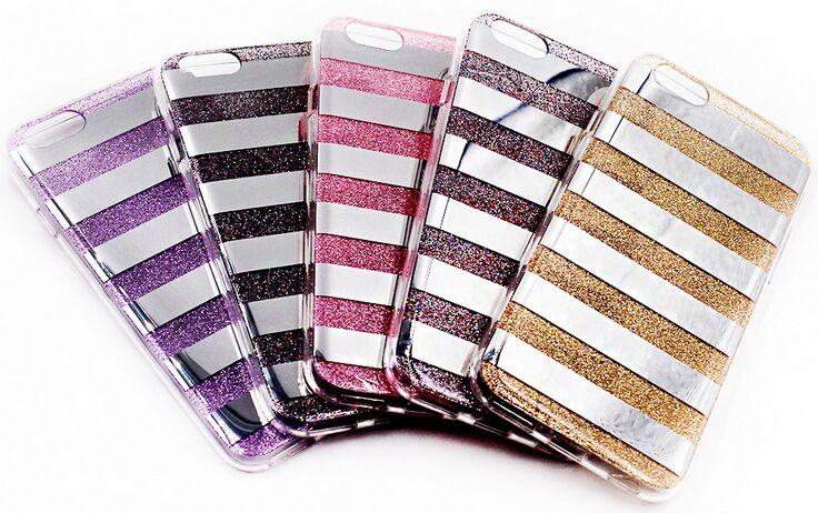 imágenes para Calidad superior de la manera de bling case para iphone 5 5s se/6 6 s plus contraportada brillante estriado candy cajas del teléfono 100