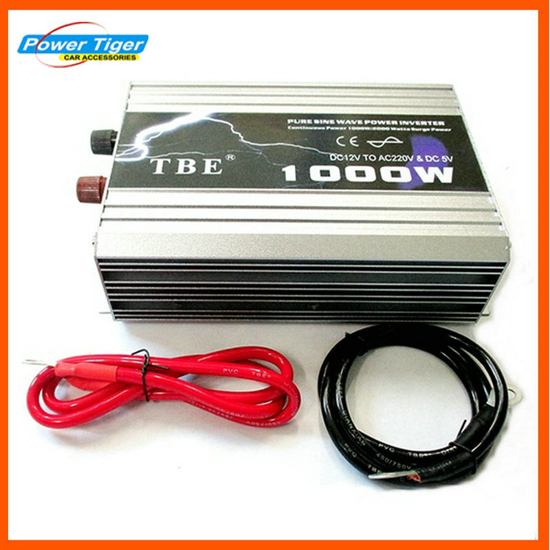 High Power TBE 1000 watt DC12V 24 v 48 v zu AC 110 v 220 v Auto Auto Reinen welle Power Inverter mit Power Kabel Adapter