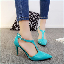Free shipping spring women's fashion T-strap comfortable high heel shoes pointed toe all match single shoes