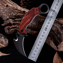High Quality Cold Steel Camping Tactical Karambit Knives Outdoor Wood Handle Survival Hunting Folding Knife Facas Taticas