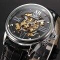 Marca SEWOR Relógios Homens Pulseira de Couro de Luxo Homens Esqueleto Oco de Negócio Masculino Relógio Mecânico Automático Auto Vento Relógio de Pulso