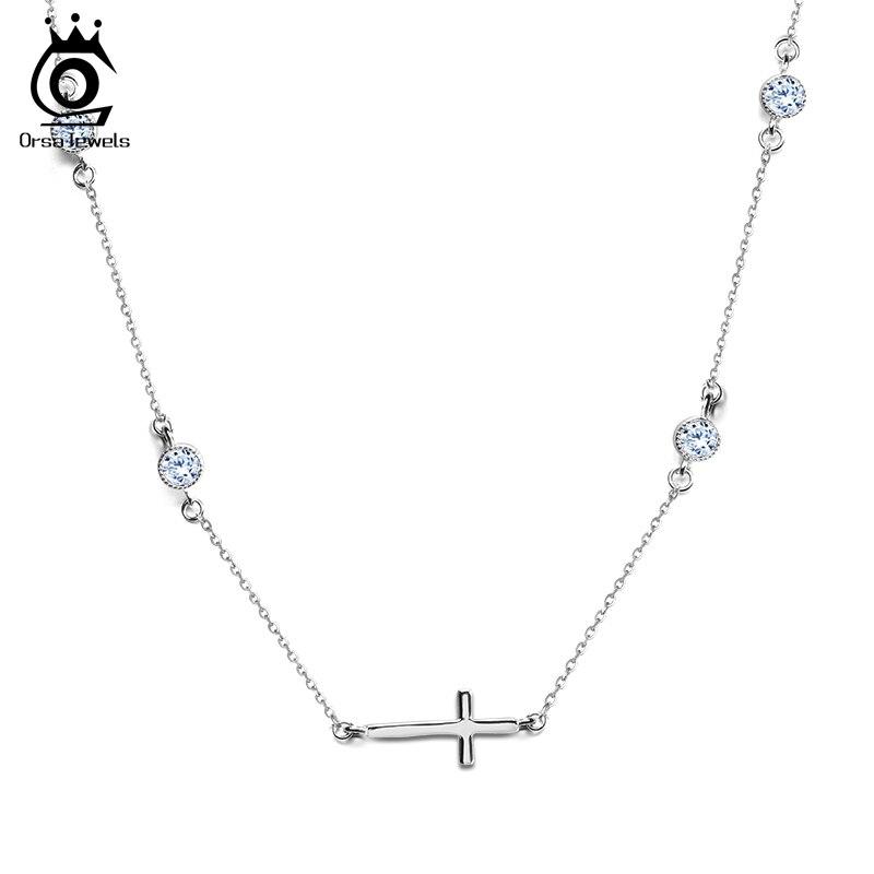 b50e5f88b80a ORSA JOYAUX Couleur Argent Croix Pendentif Collier pour les Femmes avec 4  Pecs CZ Nickel Livraison Mode Colliers Bijoux Féminins ON117