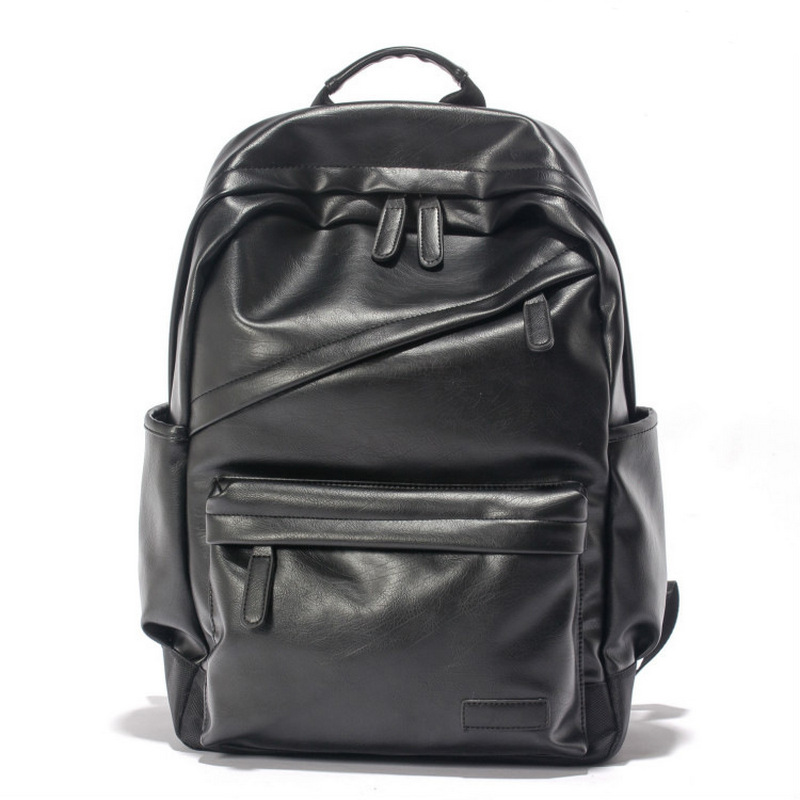 High Quality Black Unisex Cool Backpack Men Vintage Pu Leather Women School Bags Teenagers Large Capacity Daily Back Pack Male