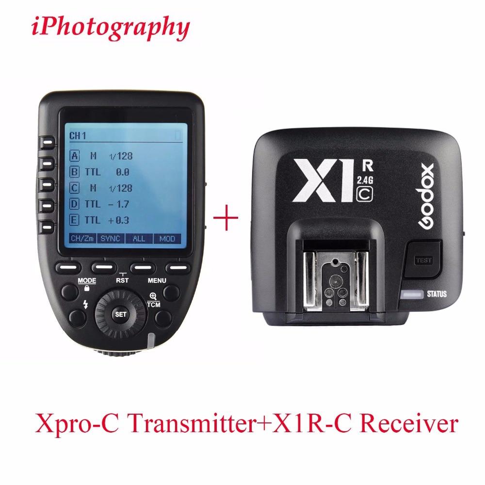 Godox Xpro-C TTL Wireless Flash Trigger Transmitter + X1R-C TTL Wireless Flash Trigger Receiver Flash Trigger for Canon Camera viltrox fc 16 off camera flash trigger w light control trigger black