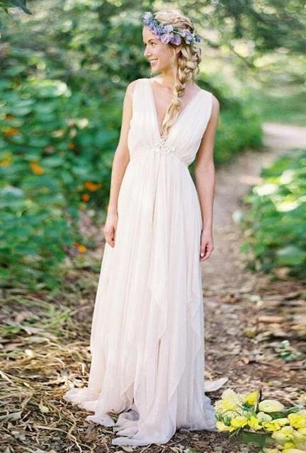 Bohemian Backless Beach Wedding Gowns V Neck Flowing Boho Bridal Gown A Line Vintage Greek Goddess Wedding Gowns Summer Style Summer Style Boho Stylev Neck Aliexpress,Plus Size Older Bride Wedding Dresses