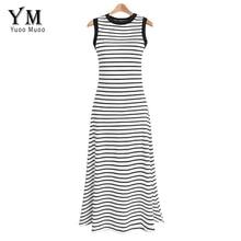 YuooMuoo плюс размер длинное летнее женское платье Элегантное Белое черное Полосатое повседневное Макси платье на бретелях а линия пляжное платье уличная