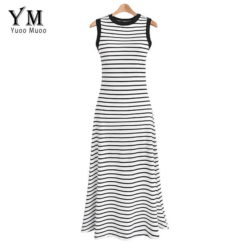 US $7.82 45% OFF|YuooMuoo Plus Size 2019 Long Summer Women Dress Elegant  White Black Striped Casual Maxi Tank Dress A Line Beach Dress Streetwear-in  ...