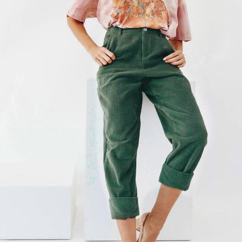 2018 Fashion Casual Women Harem Pants Corduroy Women Loose Pants Wide Leg Long Pants Trousers Corduroy Soft Joggers
