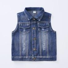 Синего джинсового цвета одежда для девочек куртки пальто новая Повседневное одноцветное верхняя одежда для девочек короткий рукав с круглым вырезом для детей Детская одежда jk197