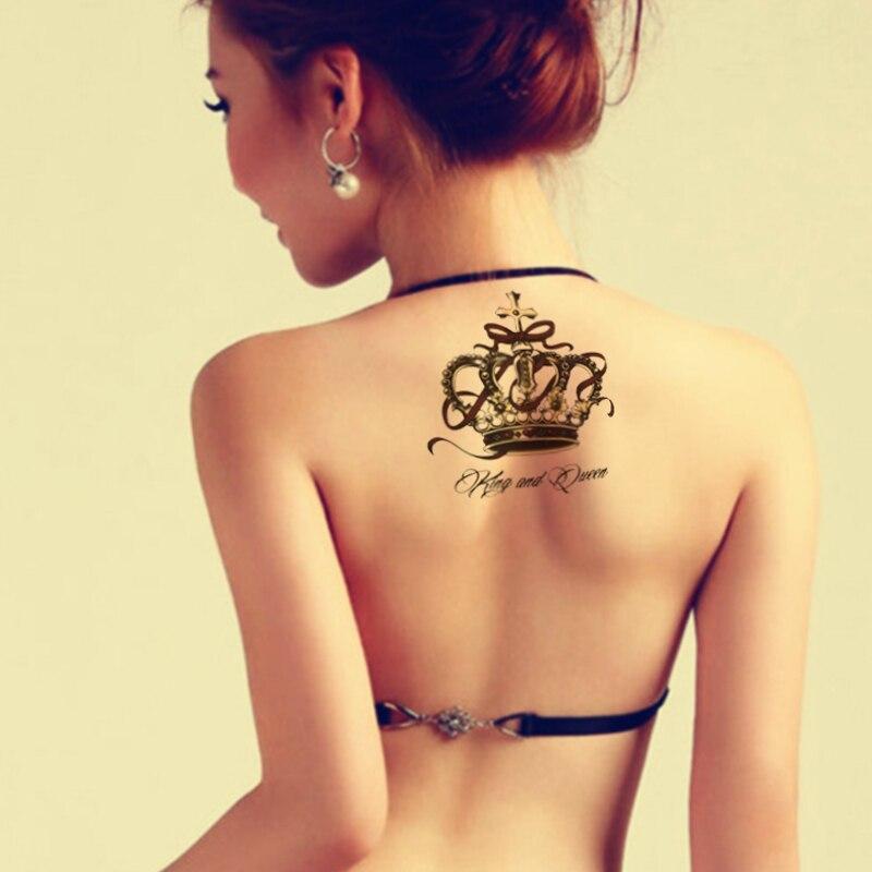1Pcs Luxury Crown Design Tattoos Temporary Tattoo Sticker Metallic Tattoos Body Art 3D Transfer Sticker Tatouage Temporaire