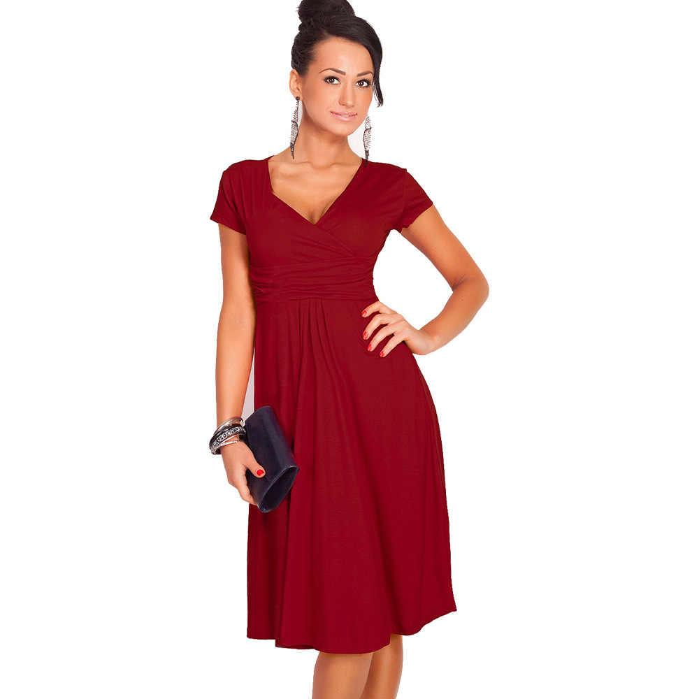 Aamikast Women Summer Elegant Solid Color V-neck Vestidos 2019 Sexy Work  A-Line 11fb31754451