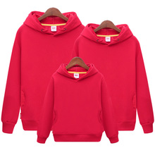 Family Hoodie Sweaters Autumn Spring Long Sleeve Shirts 100% Cotton Comfortable Solid Color Family Look Black Red Yellow