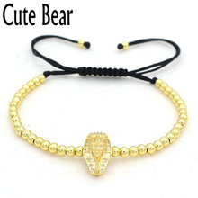 Cute Bear Brand Charm Sphinx Bracelet Men Women Fashion High Quality 4mm Copper Beads Horus Sun God Faith Bracelet Men Jewelry