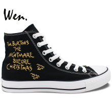Wen Design Custom Nightmare Before Christmas Hand Painted Sneakers for Girls Boys's Gifts High Top Canvas Type Outdoors Shoes