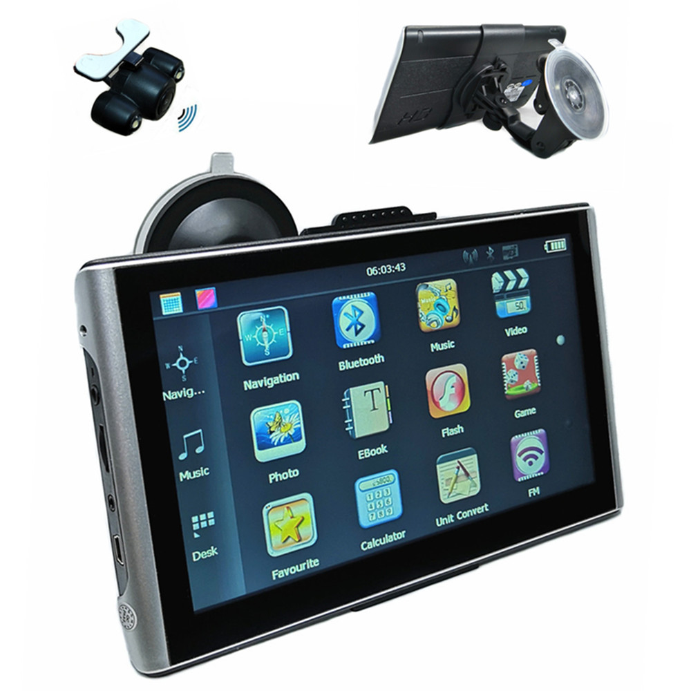 "7"" Car GPS Navigation 8G SAT NAV CPU800M+FM+free maps,Bluetooth AV-IN & Wireless rearview camera optional(China)"
