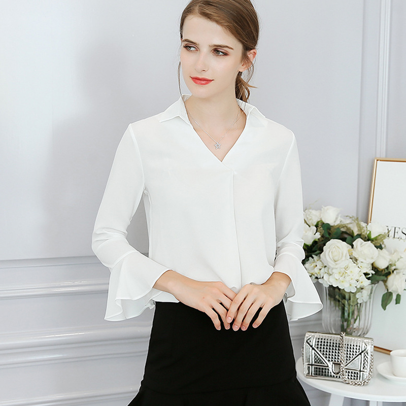 Dioufond V-Neck Soild Chiffon Female Blouses Nine Quarter Flare Sleeve Shirts Women Blouse White Slim Casual Ladies Top Fashion