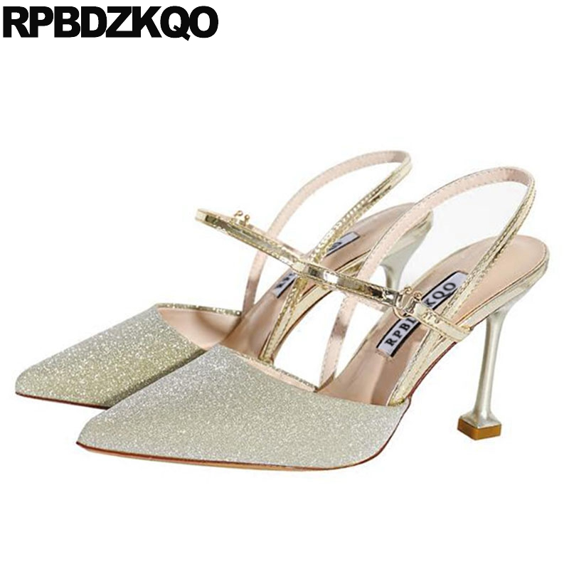 glitter evening size 33 gold pumps shoes strap stiletto slingback 8cm high heels pointed toe sandals dress sparkling golden 2019glitter evening size 33 gold pumps shoes strap stiletto slingback 8cm high heels pointed toe sandals dress sparkling golden 2019