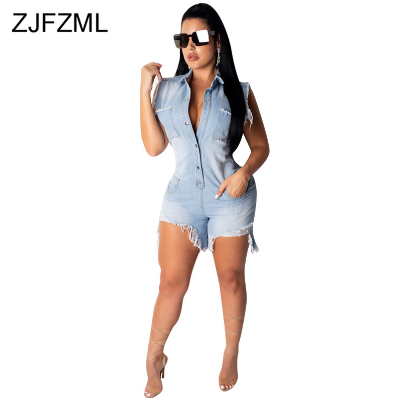 High Stretchy Summer Denim Playsuits Women Turn Down Collar Sleeveless Plus Size Romper Streetwear Buttons Up Bodycon   Jumpsuit