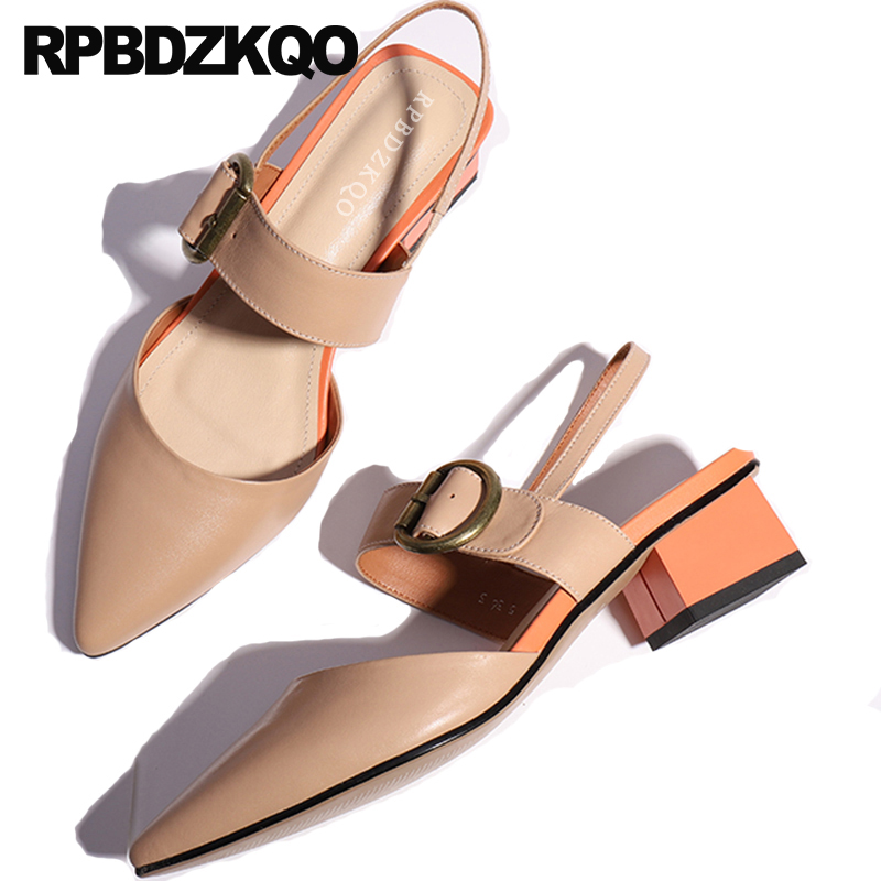 Closed Toe Low Heel Pointed Soft Chunky 11 Sandals Square Large Size Thick Slingback Strap Pumps Nude Women Shoes 2018 Spring amourplato women s ladies handmade fashion big large size thick block heel closed toe high heel party office pumps chunky shoes
