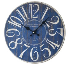 New Blue Digital Wall Clock Creative Make Old Wooden Wall Sticker Clock House Decoration Mute Wall Clock 35 * 35cm