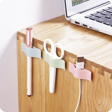6pcs USB Cable Wire Desktop Solid Line Power Cord Data Hub Holder Organizer Clip Charger