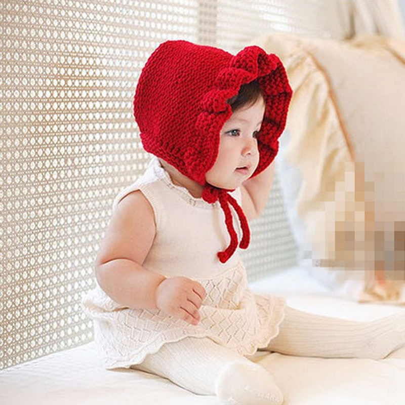 5a7912dc20550 New Chic Baby Girl Winter Hat Knitted Crochet Ruffles Toddler Kids Warm Hats  Earflaps Girls Flower Hat Red