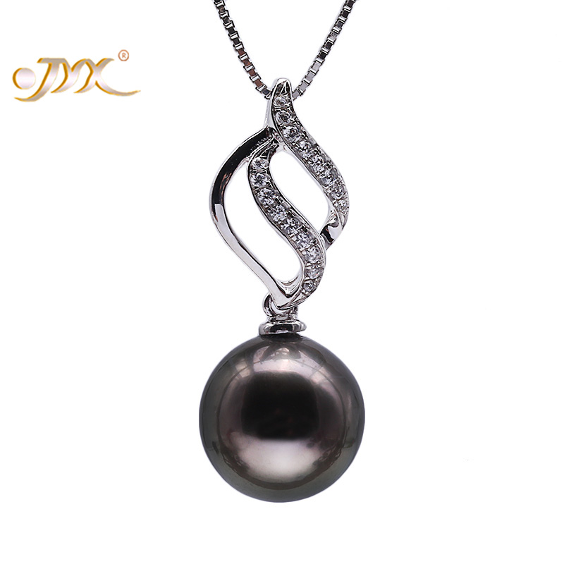 JYX Genuine 11.0mm Black Tahitian Pearl South Sea Cultured Pendant in 925 Sterling Silver 18 inches jyx 9 5mm pink genuine freshwater pearl ring shiny crystal in 925 sterling silver jewerly