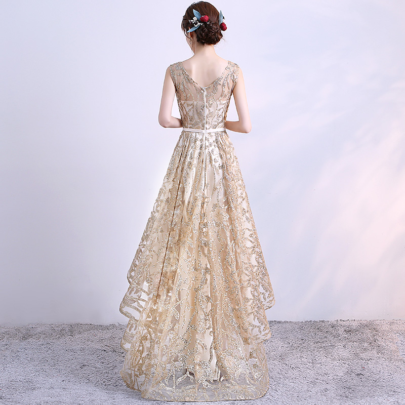 Gold Luxury Shiny Glitter Elegant Evening Dress 2018 Sexy Long High Low Evening Gown for Graduation Party Dresses in Evening Dresses from Weddings Events