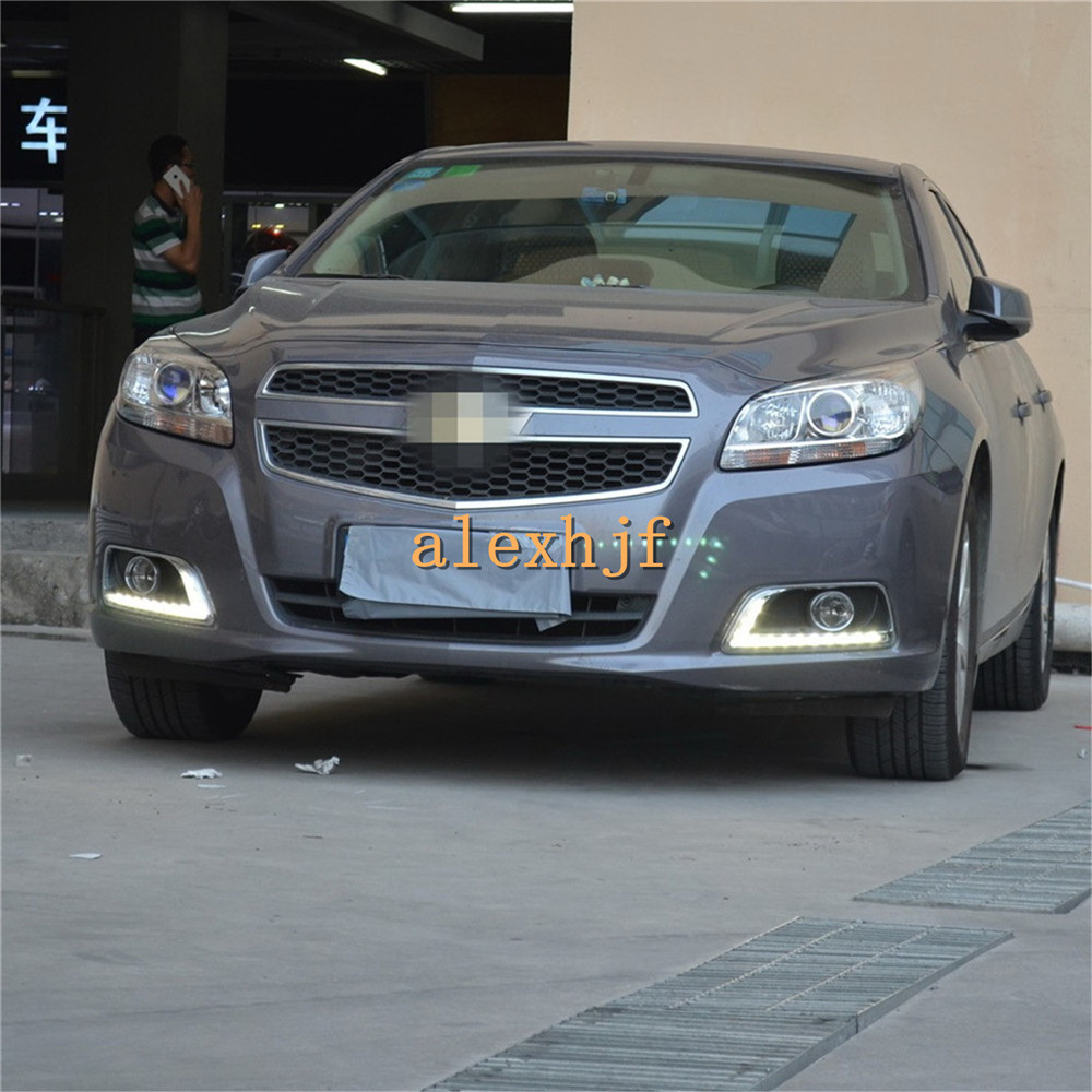 July King LED Daytime Running Lights DRL With Fog Lamp Cover Case for Chevrolet Malibu 2012~15, LED Fog Lamp, Y- type, 1:1 for opel astra h gtc 2005 15 h11 wiring harness sockets wire connector switch 2 fog lights drl front bumper 5d lens led lamp