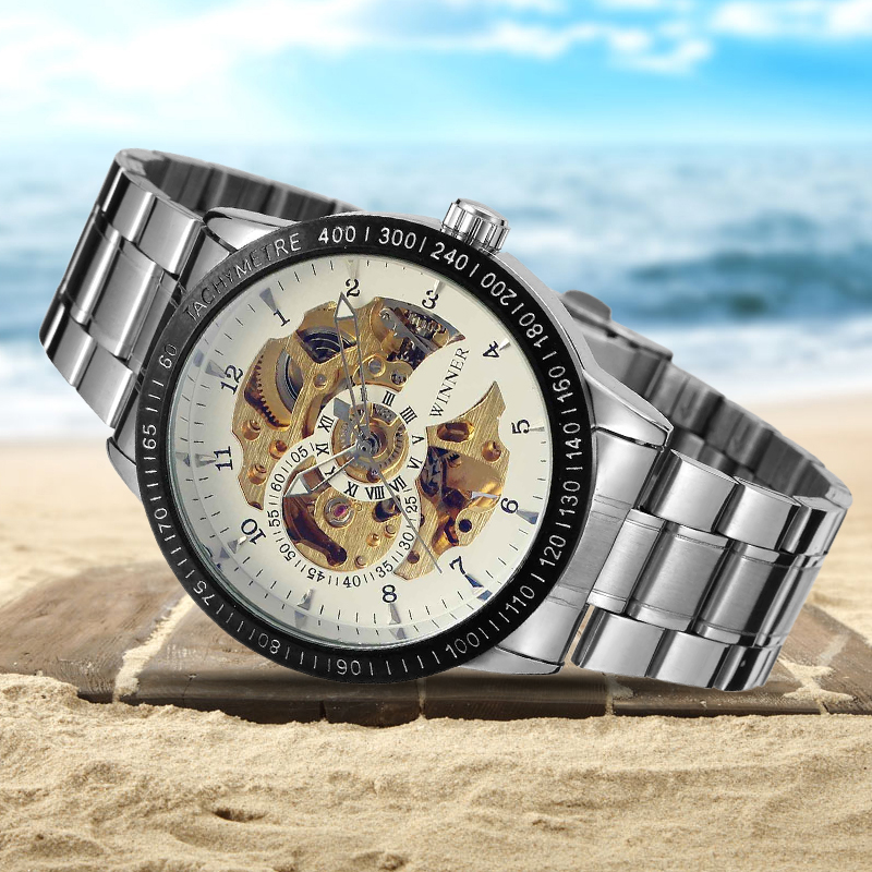 Winner Luxury Sport Clock Men Automatic Watch Skeleton Military Mechanical Watch Relogio Montre Relojes with Gift Box