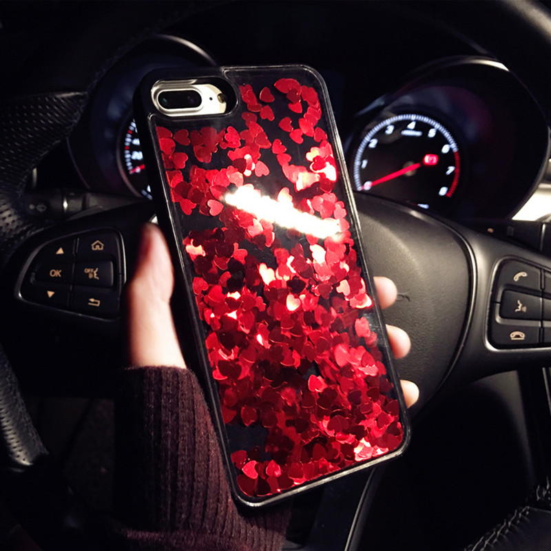 new product 07a74 9f35e US $3.22 30% OFF|Luxury Bling Glitter Red Love Heart Phone Case For iPhone  7 8 6 6S Plus XS Woman Cute Liquid Quicksand Cover For iPhone8 X 7Plus-in  ...