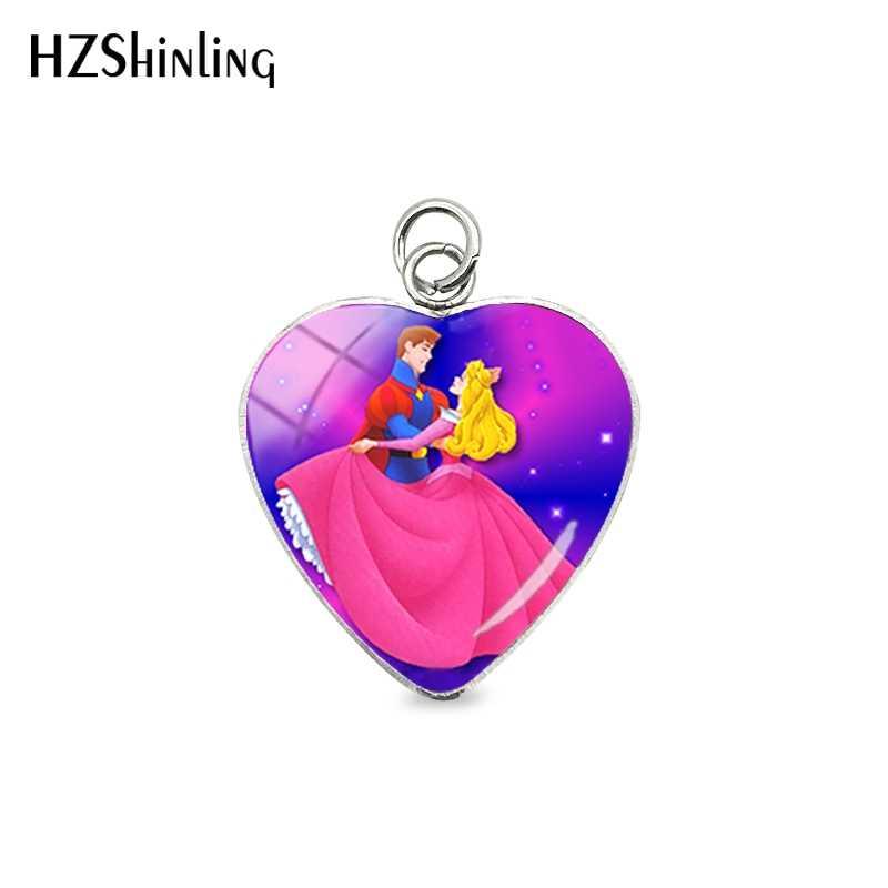 Sleeping Beauty การ์ตูน Aurora Princess Fairy Tale Heart สแตนเลสจี้ Sleeping Beauty Charms เครื่องประดับจี้