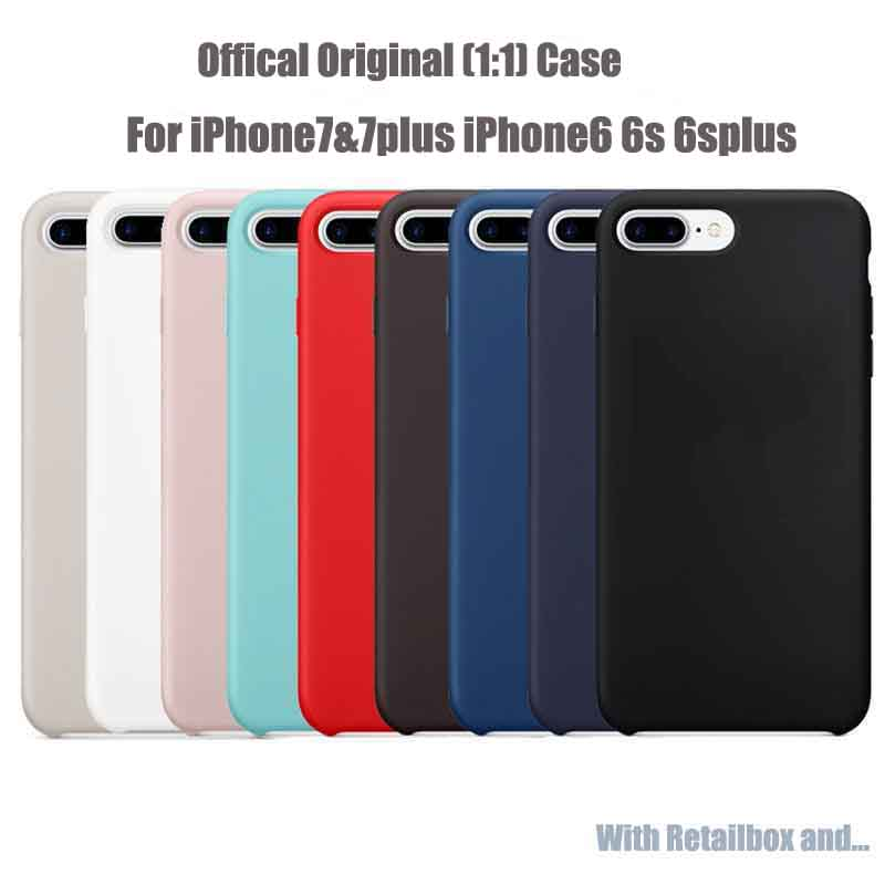 Original Have Logo Silicon Case For iPhone X 8 7 6 6s Plus Mobile Phone Bags Cases For iPhone 7 8 Plus Retail Box Coque Cover