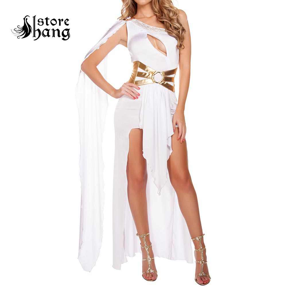 42ec6d27550 Sexy Roman Greek Goddess Costume White Black Grecian Beauty Costume Arabian  Princess Fancy Dress Halloween Costumes for Women
