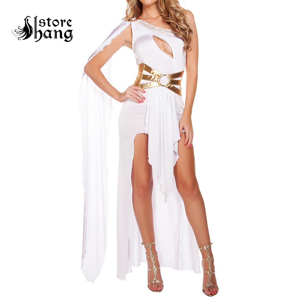 Sexy Roman Greek Goddess Costume White Black Grecian Beauty Costume Arabian Princess Fancy Dress Halloween Costumes for Women