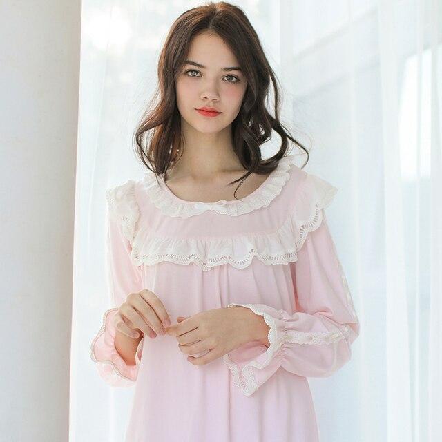 485dbf98c9 Women SLeepwear Nightgown Pink Sleepwear Ladies Royal Vintage Night wear  Nightdress