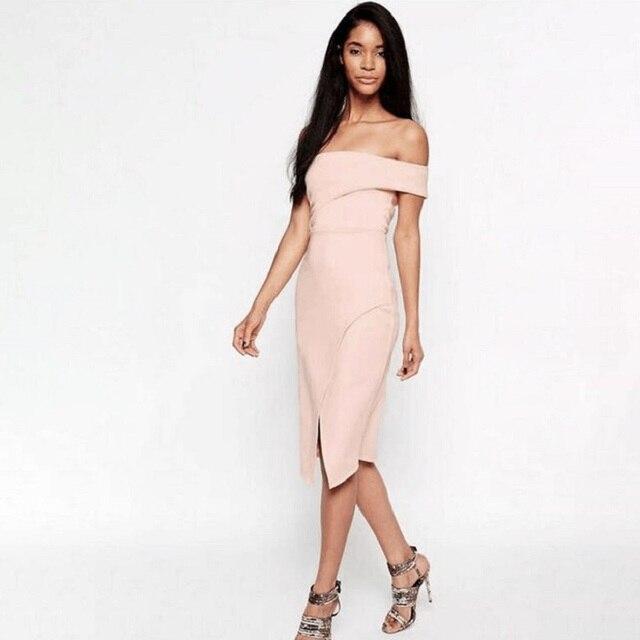 35bfc45607aa Top Quality Slash Neck Bandage Bodycon Party Dress Split Sexy Women Off the  Shoulder Club Dress