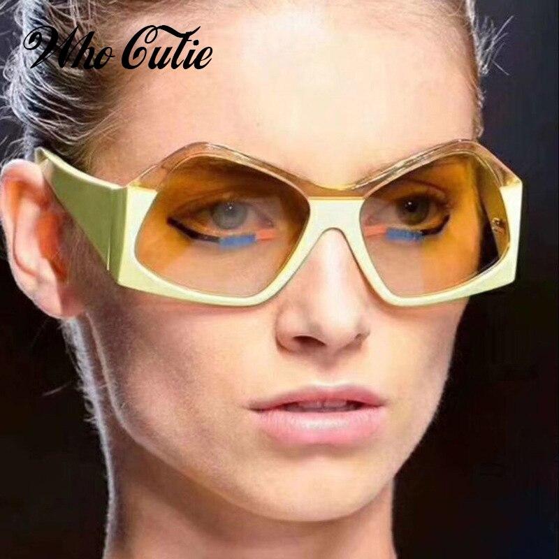 מי CUTIE 2018 מצולע רחב מימדים משקפי שמש גברים נשים מותג מעצב בציר נשי שמש משקפיים רטרו שיפוע עדשת גוונים OM736