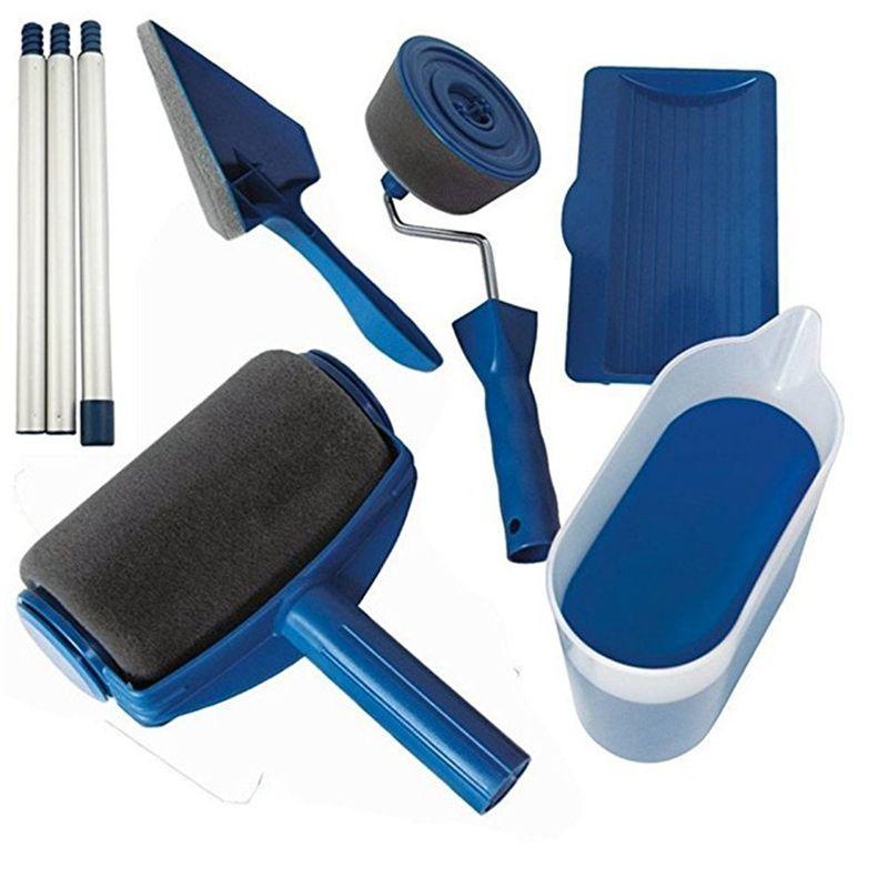 8 teile/satz Farbe Runner Pro Roller Pinsel Werkzeuge Set Strömten Edger Büro Zimmer Wand Malerei Roller Pinsel Set