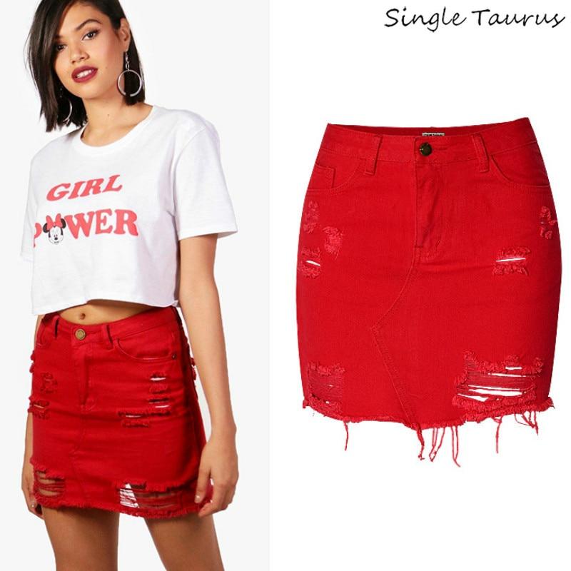 19e84b9e8f England High Waist Sexy Jeans Skirts Women Top Quality Cotton Irregular  Hole Ripped Denim Skirts Mujer Red Tassel Short Saia
