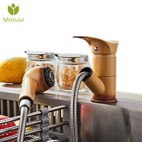 Kitchen Pull Out Cool Painted Finish Faucet Hot Cold Water Taps Deck Mount Swivel Extensible Basin