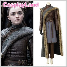 New Game of Thrones Season 8 Arya Stark Cosplay Costume Halloween Party Outfit Full Set Suit Custom Made