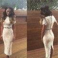 Women Sexy Lace Two Piece Dress Sets Fashion Ladies Sexy Short Sleeve Dress Sets