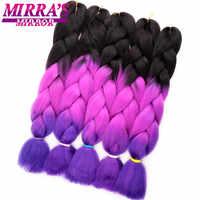 Miroir de Mirra rose tressage cheveux Ombre Jumbo tresses synthétiques Crochet cheveux bleu blond vert rouge Extension de cheveux