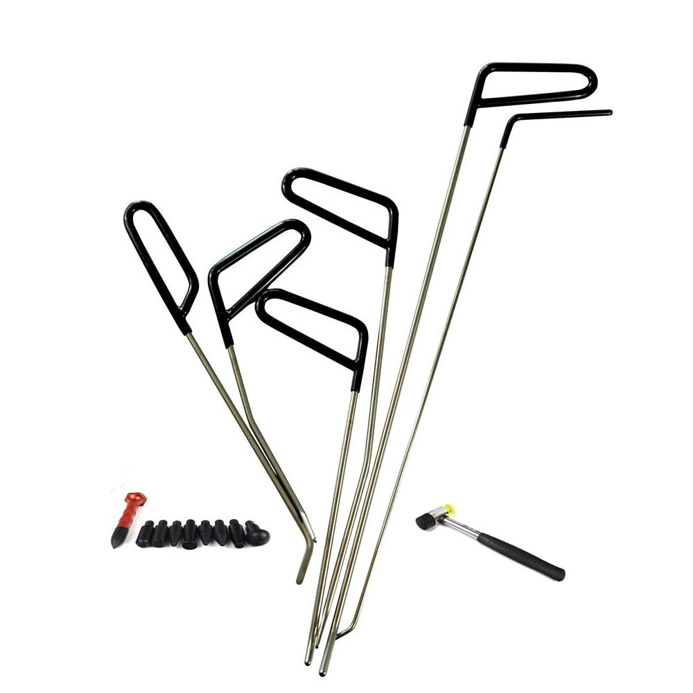 8pcs set PDR Tool Kit Hail Hammer PDR Rods Hook Tools Paintless Dent Repair Car Dent
