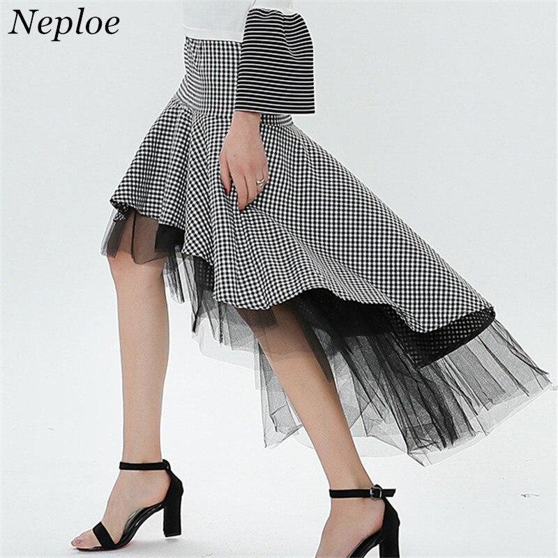 Cuadros Irregular 68874 Neploe Diseño Otoño 2019 Fondo Las Vintage Patchwork Skirt Falda Gracia Malla Jupe Plaid Mujeres Mujer Acanalada De Moda SdfqfF