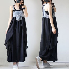 цена на Women Casual Sleeveless Spaghetti Strap Dress Loose Denim Plus Size Dress Elegant Pocket Patchwork Chiffon Dress