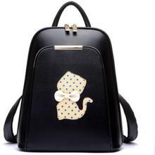 Женщины ИСКУССТВЕННАЯ Кожа Рюкзак Колледж Ветер Школьный Свежий Кошка Дорожные Сумки Новый Стиль сумка Для Ноутбука Рюкзак для Девочек-Подростков